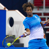 Gael Monfils from France plays an exhibition match against Fernando Verdasco (not pictured) from Spain during the Tennis Classics tournament in Budapest, Hungary on October 29, 2011. ATTILA VOLGYI