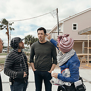 Drew Scott gets his hair touched up prior to filming an outdoor scene during a production day for the HGTV show, Brother vs Brother, Wednesday, February 15, 2017 in Galveston, Texas. Season five of the show which features The Property Brothers, Jonathan and Drew Scott, airs later this year.<br /> <br /> Todd Spoth for The New York Times.