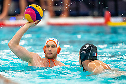 Jorn Muller of the Netherlands in action against Romain Marion Vernouxof France during the Olympic qualifying tournament. The Dutch water polo players are on the hunt for a starting ticket for the Olympic Games on February 17, 2021 in Rotterdam