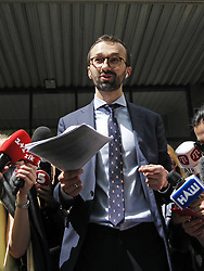 May 13, 2019 - Kiev, Ukraine - Ukrainian member of parliament SERHIY LESHCHENKO displays to journalists documents, as he said, handed over from entourage of the Attorney General of Ukraine Yuriy Lutsenko to entourage of attorney of US president Donald Trump and former New York mayor Rudy Giuliani , as he arrived for his court hearing in Appellate Administrative Court in Kiev, Ukraine, on 13 May 2019. Leshchenko claims that the Attorney General of Ukraine Yuriy Lutsenko misled attorney of US president Donald Trump and former New York mayor Rudy Giuliani that Leshchenko was convicted of meddling in the presidential elections in the United States 2016, and it Giuliani voiced on Fox News. Rudy Giuliani cancels Ukraine trip, says he'd be 'walking into a group of people that are enemies of the US', as Fox News channel reports earlier. (Credit Image: © Serg Glovny/ZUMA Wire)
