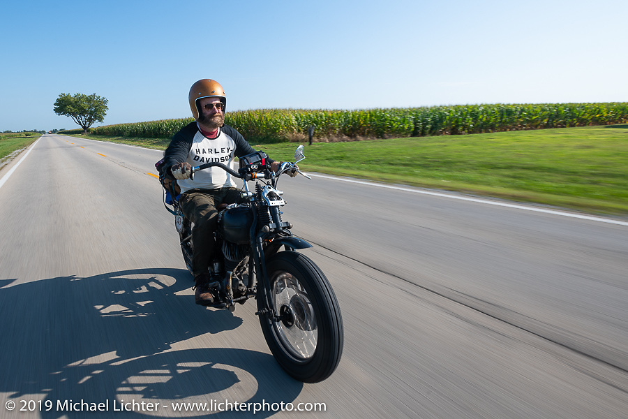 Artist Jeff Durrant riding his 1942 Harley-Davidson WLC bobber in the Cross Country Chase motorcycle endurance run from Sault Sainte Marie, MI to Key West, FL (for vintage bikes from 1930-1948). Stage 4 saw a 315 mile ride from Urbana, IL to Bowling Green, KY USA. Monday, September 9, 2019. Photography ©2019 Michael Lichter.