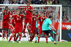 27.07.2011, Allianz Arena, Muenchen, GER, Audi Cup 2011, Finale,  FC Barcelona vs FC Bayern , im Bild Freisto§ durch David Villa (Barcelona #7) mit David Alaba (Bayern #27) Luiz Gustavo (Bayern #30) Diego Contento (Bayern #26)  // during the Audi Cup 2011,  FC Barcelona vs FC Bayern  , on 2011/07/27, Allianz Arena, Munich, Germany, EXPA Pictures © 2011, PhotoCredit: EXPA/ nph/  Straubmeier       ****** out of GER / CRO  / BEL ******