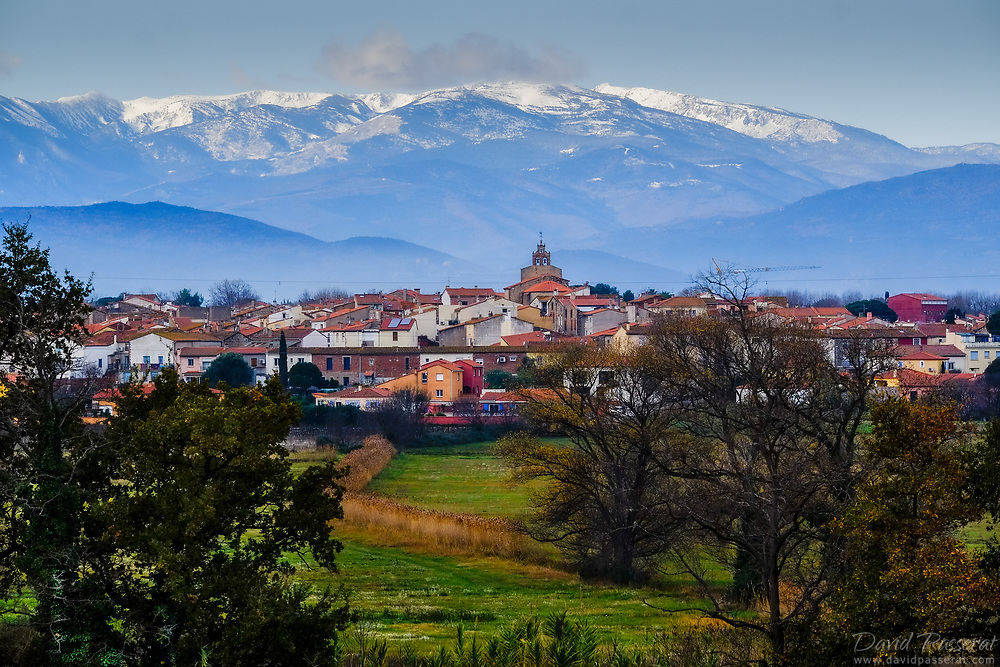 Small town of Canohes and the Canigou in the distance