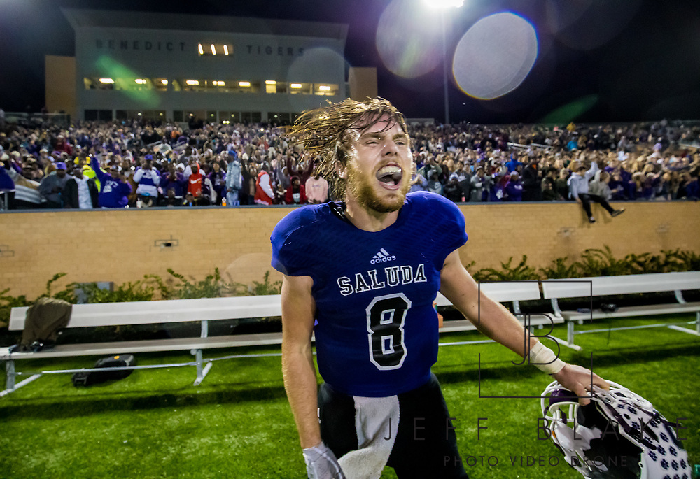 Saluda Tigers quarterback Noah Bell (8) celebrates after his team won the Class AA State Championship game against the Barnwell Warhorses. 2019 Saluda State Championship Football Photos