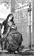 Penelope and her loom. In Ancient Greek legend wife of Ulysses, mother of Telemachus and an example of domestic virtue. When besieged by suitors during Ulysses long absence, she promised them a decision when her piece of work was complete. She wove all day, and sat up with her ladies overnight undoing her labours. Wood engraving 1886.