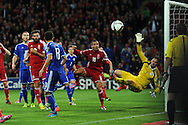 Bosnia and Herzegovina goalkeeper Asmir Begovic watches as a header from Hal Robson-Kanu (10) of Wales goes wide of goal. Euro 2016 qualifying group B match, Wales v Bosnia- Herzegovina at the Cardiff city Stadium in Cardiff, South Wales on Friday 10th Oct 2014.<br /> pic by Andrew Orchard, Andrew Orchard sports photography.