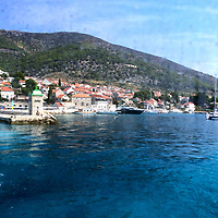 Croatia 2019;<br />Harbour tower and wall from window of ferry;<br /> Bol, Brac;<br /> August 18th - 30th August 2019.<br /> <br /> @ Pete Jones<br /> pete@pjproductions.co.uk