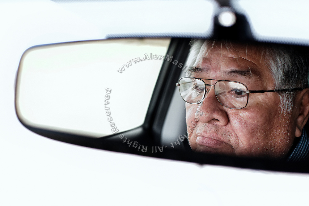 Ed Naranjo, chief of the Goshute Tribe, is driving along the main road crossing the Goshute Reservation of Deep Creek Valley, on the Nevada-Utah border, USA.