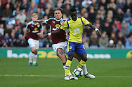 Jeff Hendrick of Burnley looks to tackle Idrissa Gueye of Everton. Premier League match, Burnley v Everton at Turf Moor in Burnley , Lancs on Saturday 22nd October 2016.<br /> pic by Chris Stading, Andrew Orchard sports photography.
