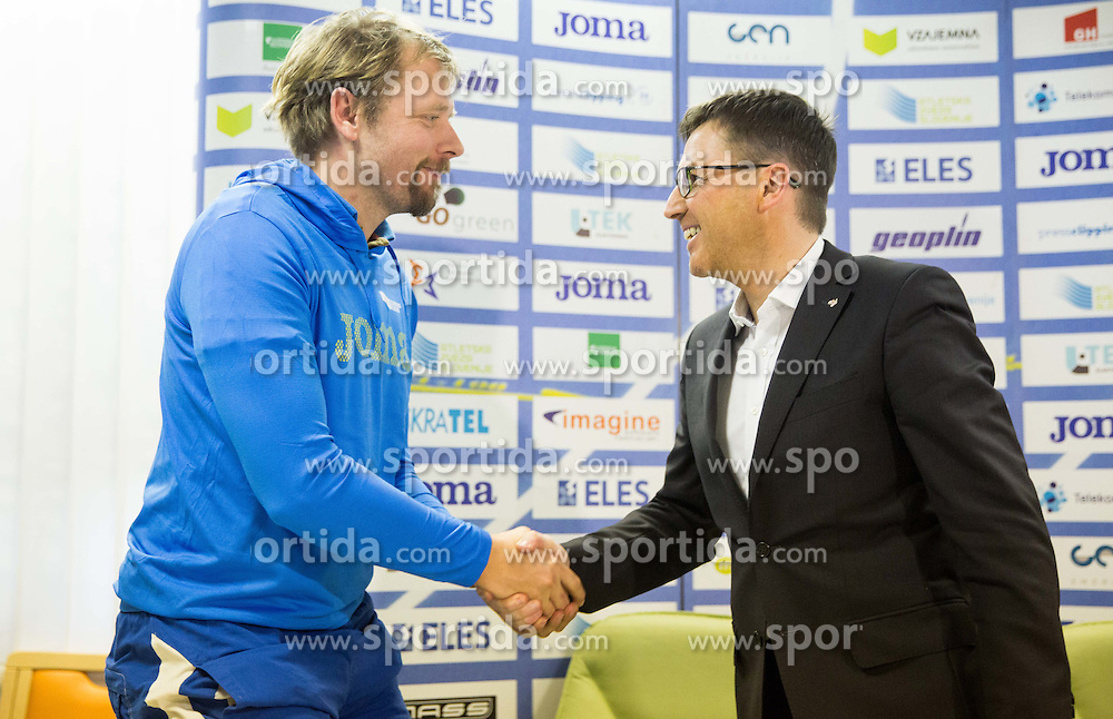 Matej Juhart and Roman Dobnikar during press conference when Slovenian athletes and their coaches sign contracts with Athletic federation of Slovenia for year 2016, on February 25, 2016 in AZS, Ljubljana, Slovenia. Photo by Vid Ponikvar / Sportida