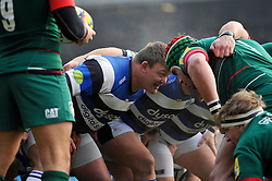 David Wilson of Bath Rugby prepares to scrummage against his opposite number - Photo mandatory by-line: Patrick Khachfe/JMP - Mobile: 07966 386802 04/01/2015 - SPORT - RUGBY UNION - Leicester - Welford Road - Leicester Tigers v Bath Rugby - Aviva Premiership