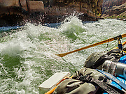 """Rowing a raft through """"Son of Lava Falls"""" (or Lower Lava Rapid) at Colorado River Mile 180. Day 13 of 16 days rafting 226 miles down the Colorado River in Grand Canyon National Park, Arizona, USA."""