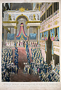 Coronation of Napoleon I in Notre Dame, Paris, 2 December 1804. Napoleon taking the Oath. Engraving