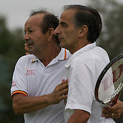 Jorge Camina Borda, Spain, (right) and Jairo Velasco Ramirez, Spain after winning the doubles match against France  in the Von Cramm Cup during the 2009 ITF Super-Seniors World Team and Individual Championships at Perth, Western Australia, between 2-15th November, 2009.
