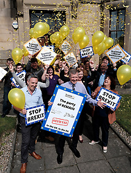 "Scottish Liberal Democrats celebrate English local election results with ""champagne moment"" and confetti cannons, Friday 3rd May 2019<br /> <br /> Scottish Liberal Democrat leader Willie Rennie and European election candidates celebrate the big gains made by Liberal Democrat colleagues overnight in the English local elections and send a message that in every corner of the UK, Liberal Democrats are the party of Remain,  leading the way in fighting to make the chaos of Brexit stop.<br /> <br /> Pictured: Willie Rennie and his team <br /> <br /> Alex Todd 