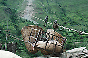 India, Kasol, Kullu District, Himachal Pradesh, Northern India a cable car for transporting goods to remote homes