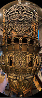 Stern of the Vasa at the Museum in Stockholm. Composite of three images taken with a Fuji X-T1 camera and Zeiss 12 mm f/2.8 lens (ISO 800, 12 mm, f/5.6, 1 sec). Raw image processed with AutoPano Giga Pro 4, Capture One Pro 8, Focus Magic, and Photoshop CC.