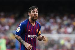 September 2, 2018 - Barcelona, Catalonia, Spain - Leo Messi of FC Barcelona during the La Liga game between FC Barcelona against Huesca in Camp Nou Stadium at Barcelona, on 02 of September of 2018, Spain. (Credit Image: © Xavier Bonilla/NurPhoto/ZUMA Press)