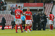 Middlesbrough defender Aden Flint (24) and Middlesbrough midfielder Jonathan Howson (16)  shake hands at full time during the EFL Sky Bet Championship match between Middlesbrough and Derby County at the Riverside Stadium, Middlesbrough, England on 27 October 2018.