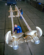 The propellers of Athena, a three masted schooner, currently being built by the Royal Huisman Shipyard of Vollenhove, Holland.