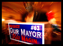 April 22nd, 2006. New Orleans, Louisiana. Voting day. Mayor Ray Nagin at his victory party in the Marriott hotel after securing a run off with opponent Mitch Landrieu.
