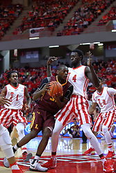 "19 February 2017:  Milton Doyle meets defender Daouda ""David"" Ndiaye (4) during a College MVC (Missouri Valley conference) mens basketball game between the Loyola Ramblers and Illinois State Redbirds in  Redbird Arena, Normal IL"