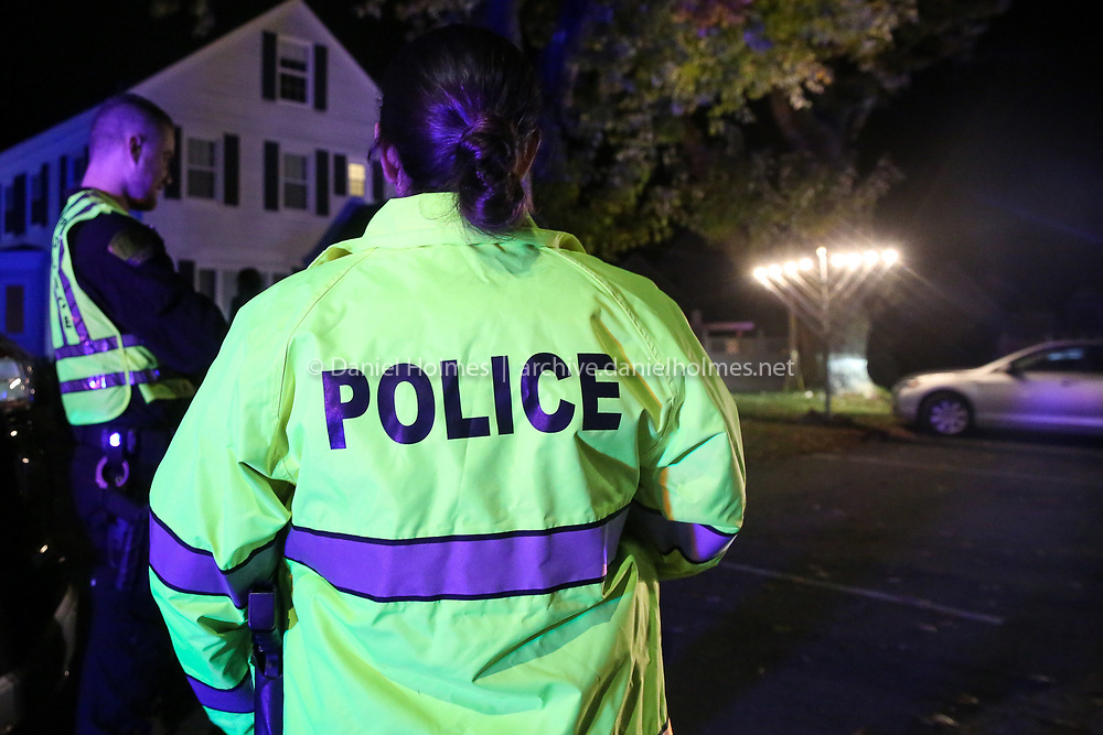 (10/28/18, MILFORD, MA) Milford Police provided security  during a memorial and moment of Torah at Chabad House Jewish Center in Milford on Sunday. The memorial will be held to honor the 11 people killed and those who were injured at the Tree of Life Synagogue in Pittsburgh. [Daily News and Wicked Local Photo/Dan Holmes]