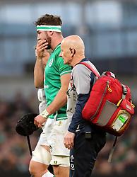 Ireland's Caelan Doris is taken off after sustaining an injury during the Guinness Six Nations match at the Aviva Stadium, Dublin.