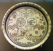 Plate showing Menelaus and Hector fighting over the body of Euphorbos.Made on Rhodes, about 600 BC. From Kamiros, Rhodes