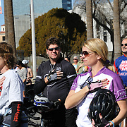 Bicyclists during singing of the National Anthem at the start Ride On, Tucson 2013. Bike-tography by Martha Retallick.