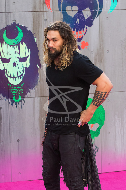 Leicester Square, London, August 3rd 2016. Hundreds of fans greet the stars of Suicide Squad at the film's European premiere in London's Leicester Square. Stars attending include: Jared Leto, Joel Kinnaman, Jai Courtney, Jay Hernandez, Adewale Akinnuoye-Agbaje, Cara Delevingne, Karen Fukuhara David Ayer (Director) Richard Suckle and Charles Roven (Producers). PICTURED: Game Of Thrones star Jason Momoa.