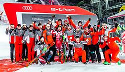 """29.01.2019, Planai, Schladming, AUT, FIS Weltcup Ski Alpin, Slalom, Herren, Siegerehrung, im Bild Sieger Marcel Hirscher (AUT) mit Team // Winner Marcel Hirscher of Austria with Team during the winner Ceremony for the men's Slalom """"the Nightrace"""" of FIS ski alpine world cup at the Planai in Schladming, Austria on 2019/01/29. EXPA Pictures © 2019, PhotoCredit: EXPA/ JFK"""
