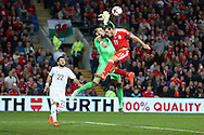 Gareth Bale of Wales puts pressure on Georgia goalkeeper Giorgi Loria as Wales press for a late winner. .Wales v Georgia , FIFA World Cup qualifier, European group D match at the Cardiff city Stadium in Cardiff on Sunday 9th October 2016. pic by Andrew Orchard, Andrew Orchard sports photography