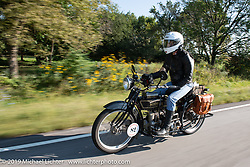 Chris O'Brien riding his 1917 Henderson in the Motorcycle Cannonball coast to coast vintage run. Stage 6 (260 miles) from Bourbonnais, IL to Cedar Rapids, IA. Thursday September 13, 2018. Photography ©2018 Michael Lichter.