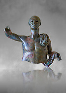 Upper part of a monumental Roman statue of an unknown person possibly a Roman magistrate of Imperial Rome , circa 40BC, inv 15055 Vatican Museum Rome, Italy, grey art background ..<br /> <br /> If you prefer to buy from our ALAMY STOCK LIBRARY page at https://www.alamy.com/portfolio/paul-williams-funkystock/greco-roman-sculptures.html . Type -    Vatican    - into LOWER SEARCH WITHIN GALLERY box - Refine search by adding a subject, place, background colour, museum etc.<br /> <br /> Visit our CLASSICAL WORLD HISTORIC SITES PHOTO COLLECTIONS for more photos to download or buy as wall art prints https://funkystock.photoshelter.com/gallery-collection/The-Romans-Art-Artefacts-Antiquities-Historic-Sites-Pictures-Images/C0000r2uLJJo9_s0c
