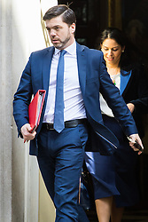 Downing Street, London, April 12th 2016. Work and Pensions Secretary Stephen Crabb leaves the weekly cabinet meeting followed by Employment Minister Priti Patel. <br /> ©Paul Davey<br /> FOR LICENCING CONTACT: Paul Davey +44 (0) 7966 016 296 paul@pauldaveycreative.co.uk
