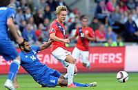 Fotball <br /> UEFA Euro 2016 Qualifying Competition<br /> 12.06.2015<br /> Norge v Aserbajdsjan / Norway v Aserbajdsjan 0:0<br /> Foto: Morten Olsen/Digitalsport<br /> <br /> Martin Ødegaard - NOR<br /> Rashad Sadygov (14) - AZB