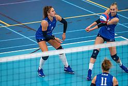 Fleur Savelkoel #6 of Sliedrecht Sport , Christie Wolt #1 of Sliedrecht Sport in action during the supercup semifinal between VC Sneek and Sliedrecht Sport on October, 03 2020 in Van der Knaaphal, Ede