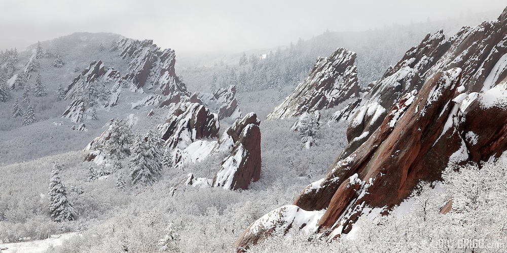 A new storm drops fresh snow at Roxborough State Park located in Douglas County, 15 miles south of Denver, Colorado.