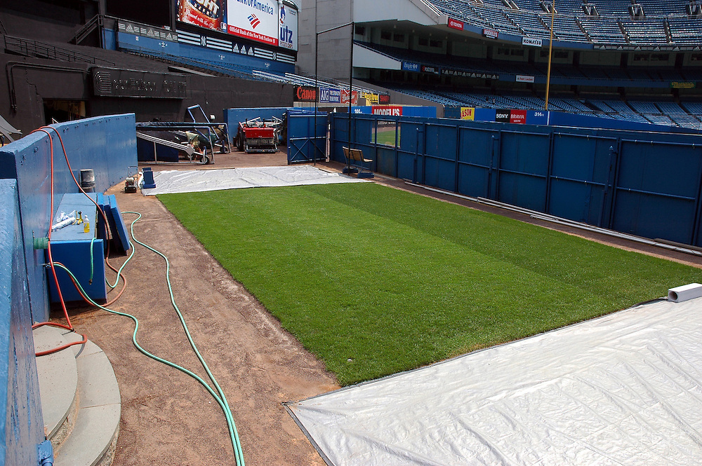 """Original Yankee Stadium bullpen of the Yankees relief pitchers, also known as """"Mo's place"""", where Mariano Rivera prepared before he entered a game. This picture was taken during the last year the Yankees played in this famous stadium."""