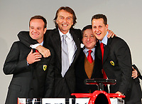 (L to R) Brazilian Ferrari driver Rubens Barrichello, chairman Luca Cordero di Montezemolo, team manager Jean Todt and German Michael Schumacher during the official presentation of the new F2005 F1 car at the team's headquarters in Maranello.<br /> <br /> <br /> <br /> Rubens Barrichello, Luca Cordero di Montezemolo, Jean Todt e Michael Schumacher durante la presentazione della nuova Ferrari F2005.<br /> <br /> <br /> <br /> Photo Munch / Graffiti
