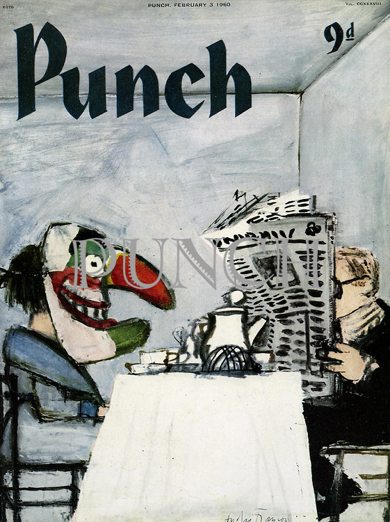Punch Front Cover - February 3rd 1960 - Wife (wearing a Mr Punch mask) at the breakfast table while husband is engrossed in his morning newspaper