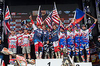 Great Britain's  Daniel Mccanney, Jamie Lewis, Nathan Watson and Jamie Mccanney, American's Kailub Russell, Michael Layne, Taylor Robert,Thad Duvall and Czech Republic's Jiri Hadek, Robert Friederich, Adolf Zivny and PAtrik Markvart during the last day World trophy class of the FIM international six days of enduro 2016 in Navarra, Spain. October 11, 2016. (ALTERPHOTOS/Rodrigo Jimenez)
