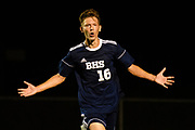Burlington's Jake Manley (16) celebrates after scoring a on a penalty kick during the boys soccer game between Stowe and Burlington at Buck Hard field on Wednesday night September 5, 2018 in Burlington. (BRIAN JENKINS/for the FRESS PRESS)