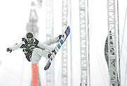 SHOT 12/18/10 12:26:43 PM - J.J. Thomas of Breckenridge, Co. takes a practice run before the Snowboard Superpipe Finals during the Nike 6.0 Open stop of the Winter Dew Tour at Breckenridge Ski Resort in Breckenridge, Co. Thomas finished fourth with a score of 69.50. The event features ski and snowboard slopestyle and superpipe. (Photo by Marc Piscotty / © 2010)