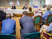 09 AUGUST 2012 - SCOTTSDALE, AZ:   Congressmen DAVID SCHWEIKERT (R-AZ), left, and BEN QUAYLE (R-AZ) sit together during a candidate forum at an adult assisted living facility in Scottsdale, AZ, Thursday. Republican Congressmen Ben Quayle and David Schweikert are facing each other in Arizona's Aug. 28 Republican primary. They are vying for the right to represent Arizona's 6th Congressional District. Both men are incumbent freshmen Congressmen. They were thrown into the same district during the redistricting process after the 2010 census. Both men are conservatives courting the Tea Party vote.  PHOTO BY JACK KURTZ
