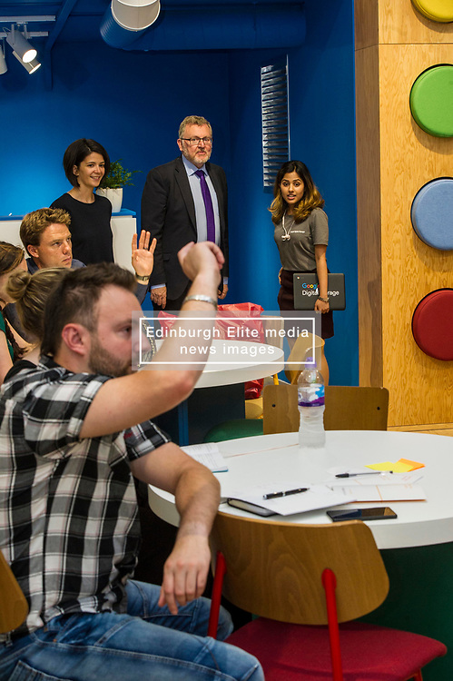 Pictured: David Mundell<br /> Scottish Secretary David Mundell visited a 'digital garage' in Edinburgh which trains people in digital skills. The Google Digital Garage, in Shandwick Place is a social responsibility outlet for the corporate giant<br /> <br /> Ger Harley   EEm 23 July 2018