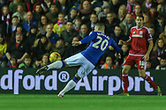 Everton midfielder Ross Barkley with a shot during the Capital One Cup match between Middlesbrough and Everton at the Riverside Stadium, Middlesbrough, England on 1 December 2015. Photo by Simon Davies.