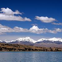 South America, Bolivia, Lake Titicaca. Scenic mountains of Lake Titicaca.