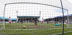 Falkirk's Craig Sibbald (left) scoring their first goal. <br /> Raith Rovers 2 v 2 Falkirk, Scottish Championship game played 23/4/2016 at Stark's Park.